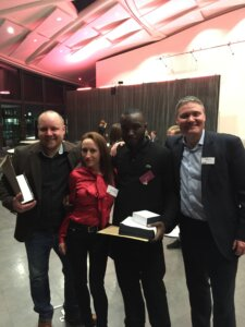 Kojo with Tom (K10 founder), Leanne (previous award winner), and Barry (who won the award for best supervisor).