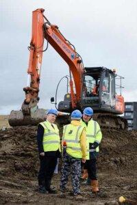 Zac Goldsmith And David Cameron Visit A Housing Construction Site