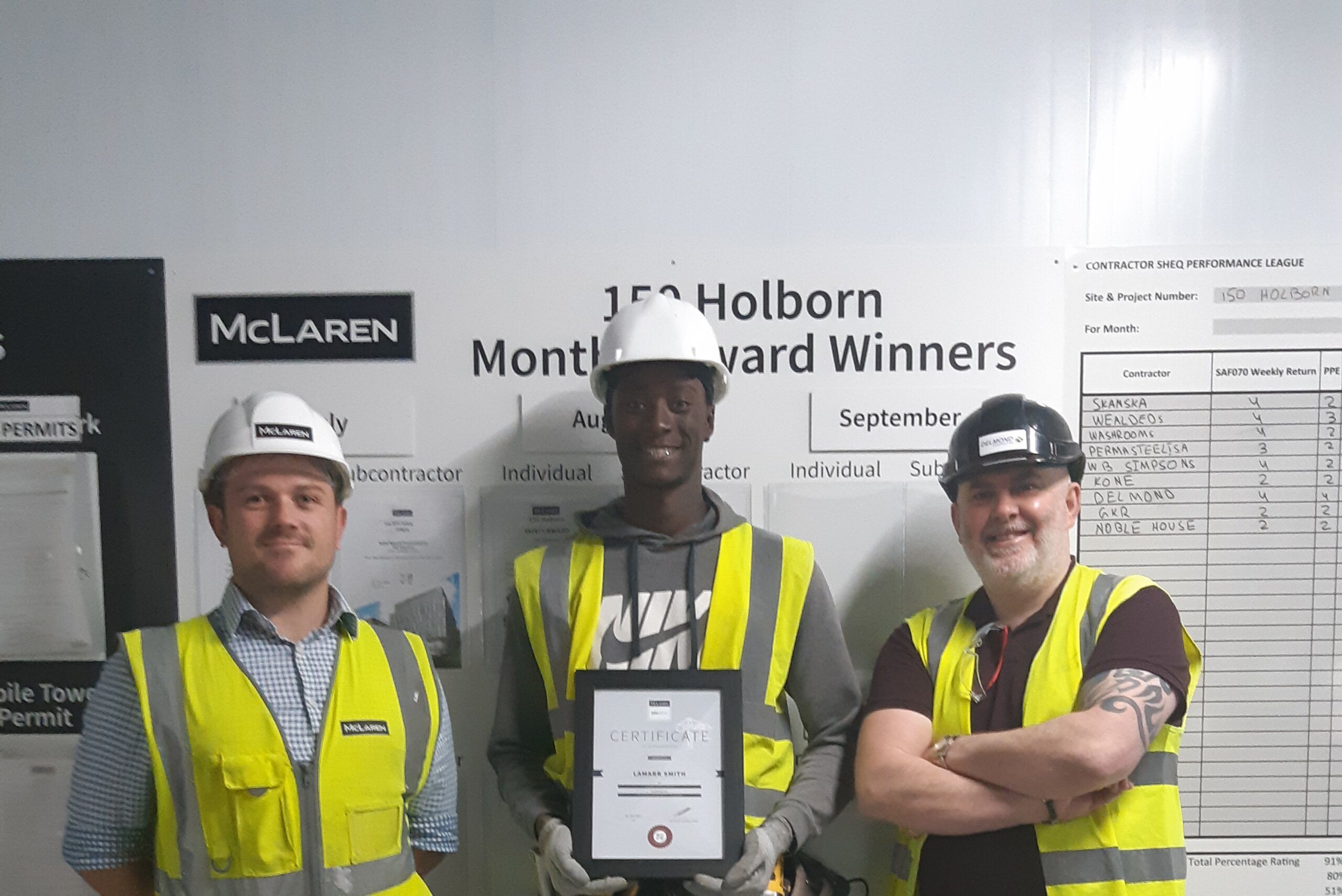 From L to R: Craig (Walter McLaren Site Manager) / Centre - Lamarr Smith (Drylining Apprentice) / Stephen Connolly (Delmond Project Manager)